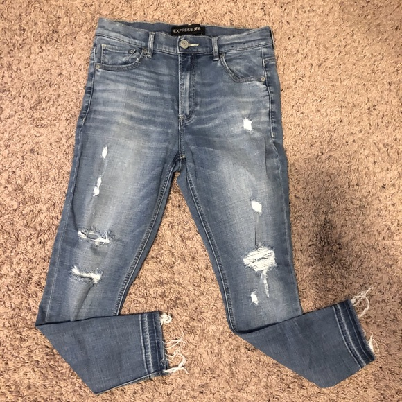 Express Skinny Jeans with Distressing
